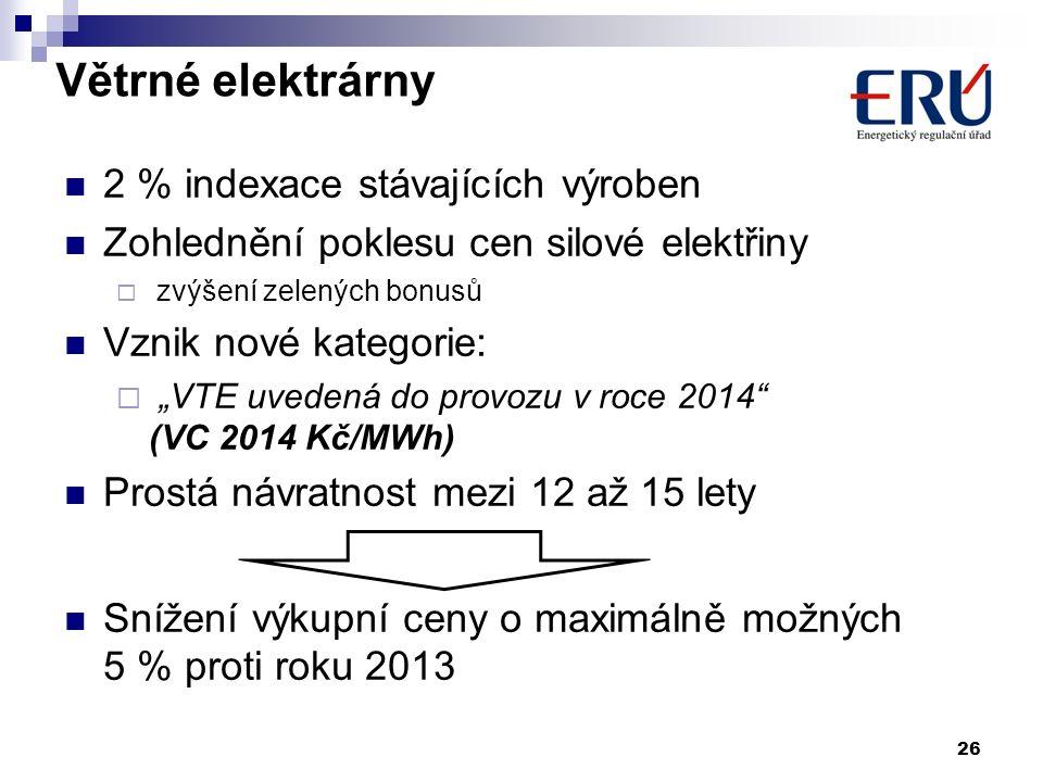 """Větrné elektrárny 2 % indexace stávajících výroben Zohlednění poklesu cen silové elektřiny  zvýšení zelených bonusů Vznik nové kategorie:  """"VTE uved"""