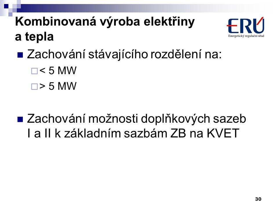 Kombinovaná výroba elektřiny a tepla Zachování stávajícího rozdělení na:  < 5 MW  > 5 MW Zachování možnosti doplňkových sazeb I a II k základním saz