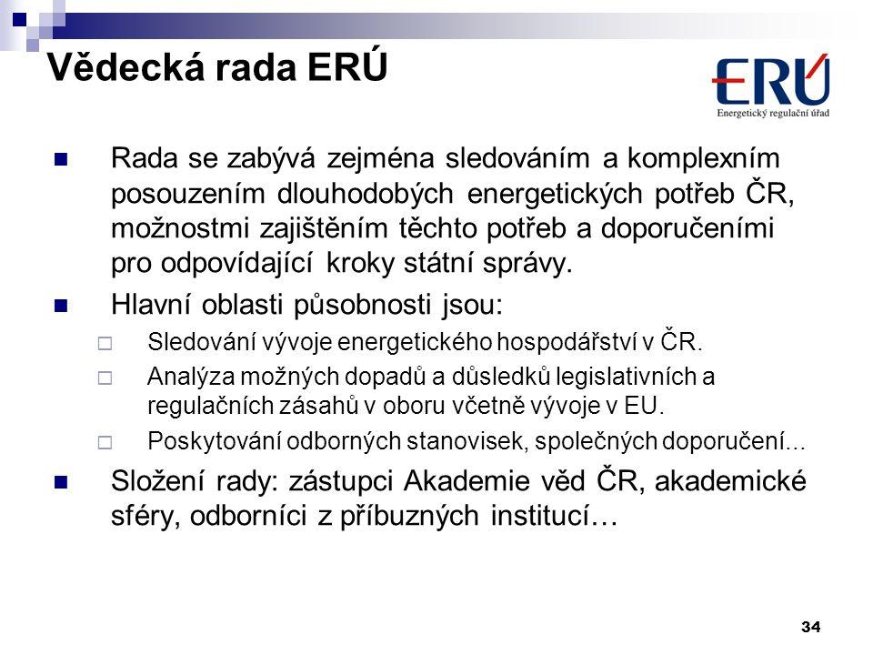 Vědecká rada ERÚ Rada se zabývá zejména sledováním a komplexním posouzením dlouhodobých energetických potřeb ČR, možnostmi zajištěním těchto potřeb a