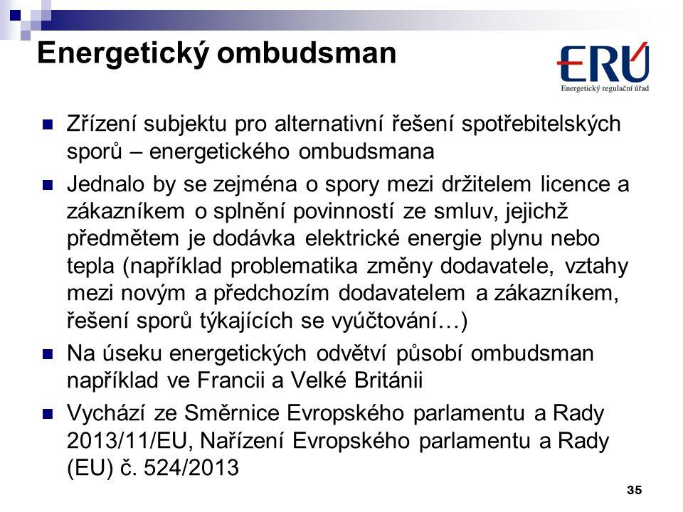 Energetický ombudsman Zřízení subjektu pro alternativní řešení spotřebitelských sporů – energetického ombudsmana Jednalo by se zejména o spory mezi dr