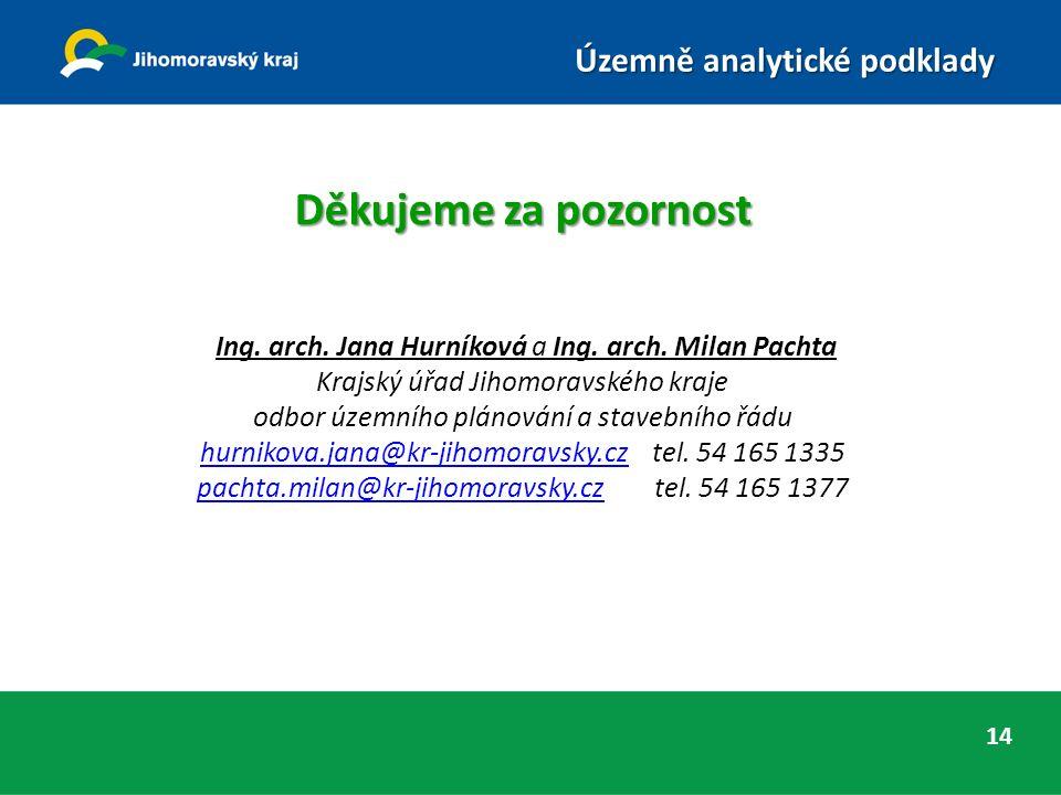 Děkujeme za pozornost Ing. arch. Jana Hurníková a Ing.