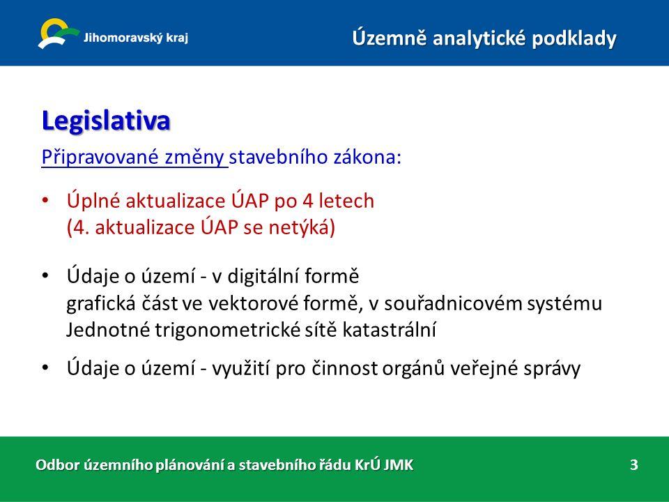 Odbor územního plánování a stavebního řádu KrÚ JMK Územně analytické podklady 4 ÚAPo 2014 - vyhodnocení 1.Textová část neobsahuje PODKLADY PRO ROZBOR UDRŽITELNÉHO ROZVOJE ÚZEMÍ (PRURÚ) Správně: podle § 26 odst.