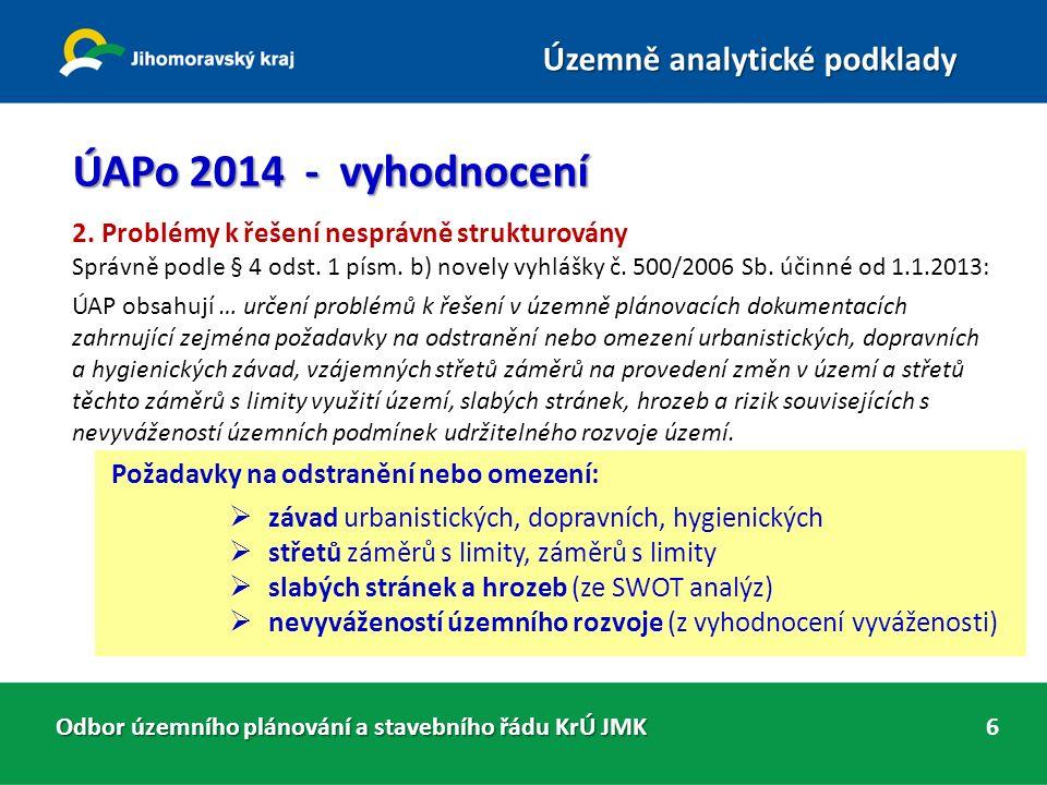 Odbor územního plánování a stavebního řádu KrÚ JMK Územně analytické podklady 6 ÚAPo 2014 - vyhodnocení 2.