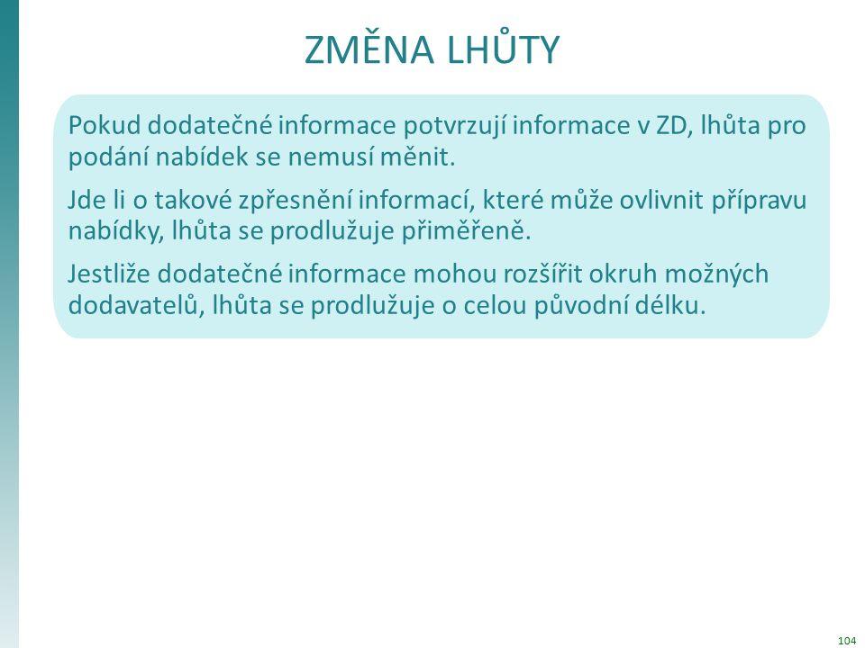 ZMĚNA LHŮTY Pokud dodatečné informace potvrzují informace v ZD, lhůta pro podání nabídek se nemusí měnit.