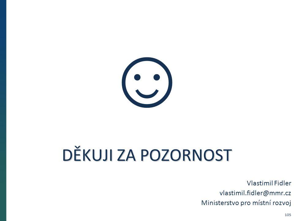DĚKUJI ZA POZORNOST Vlastimil Fidler vlastimil.fidler@mmr.cz Ministerstvo pro místní rozvoj ☺ 105