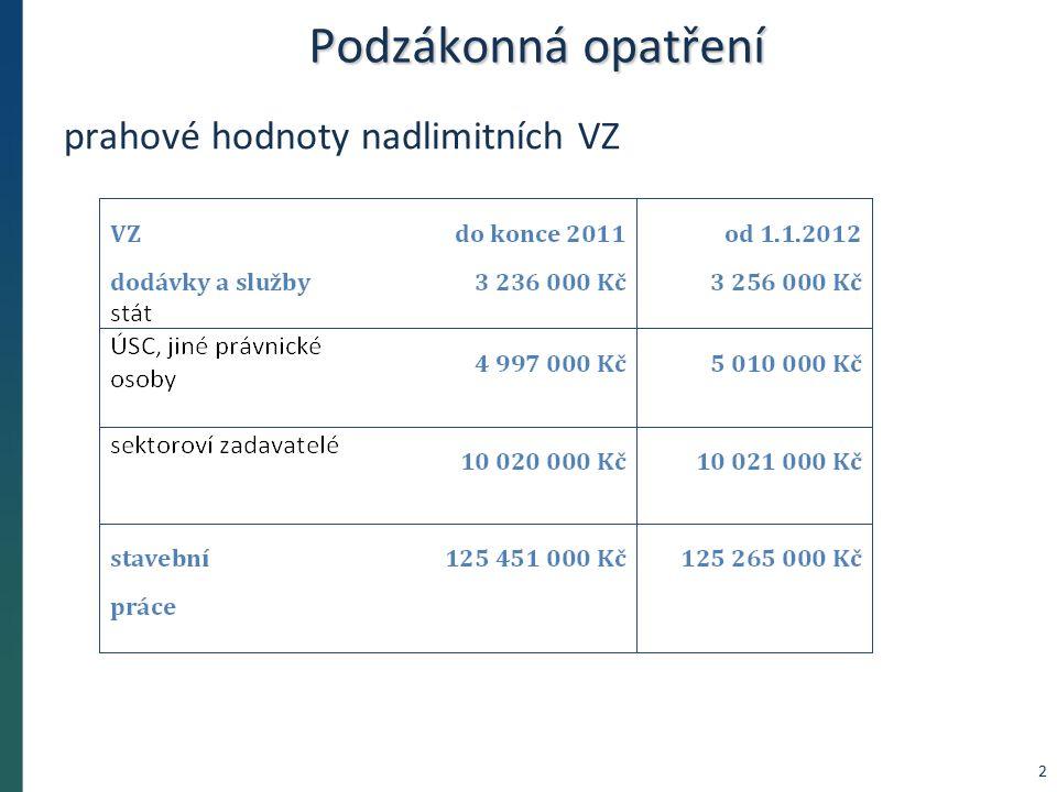 Podzákonná opatření prahové hodnoty nadlimitních VZ 2