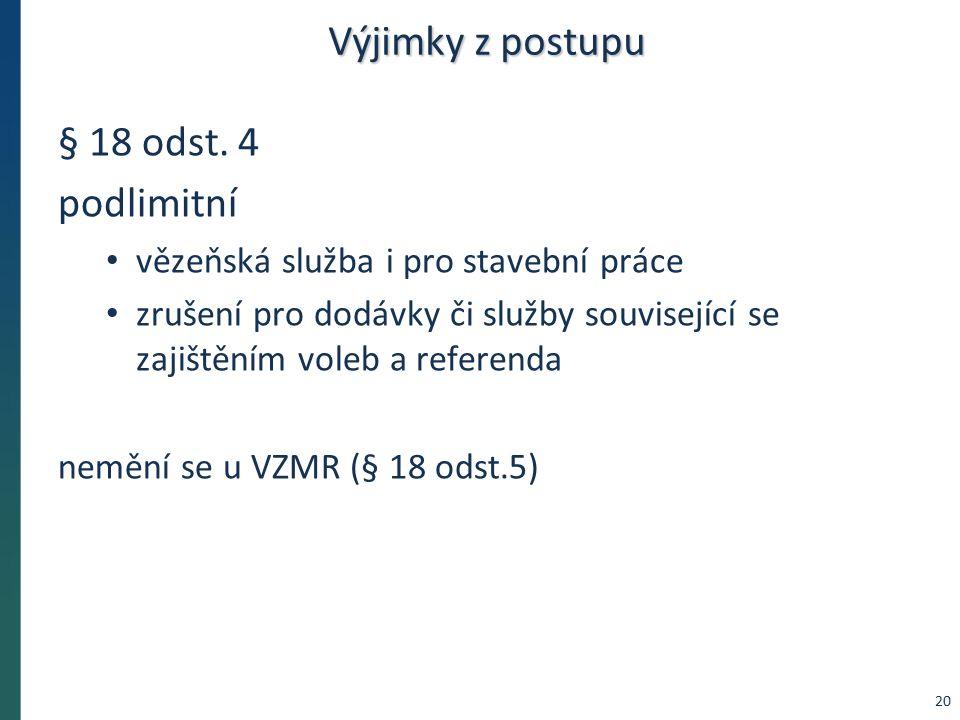 Výjimky z postupu § 18 odst. 4 podlimitní vězeňská služba i pro stavební práce zrušení pro dodávky či služby související se zajištěním voleb a referen