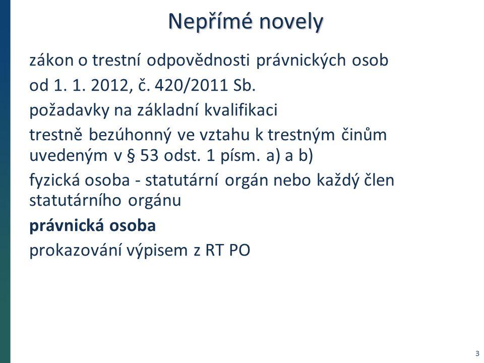 Nepřímé novely od 5.1. 2012 novela č. 1/2012 Sb.