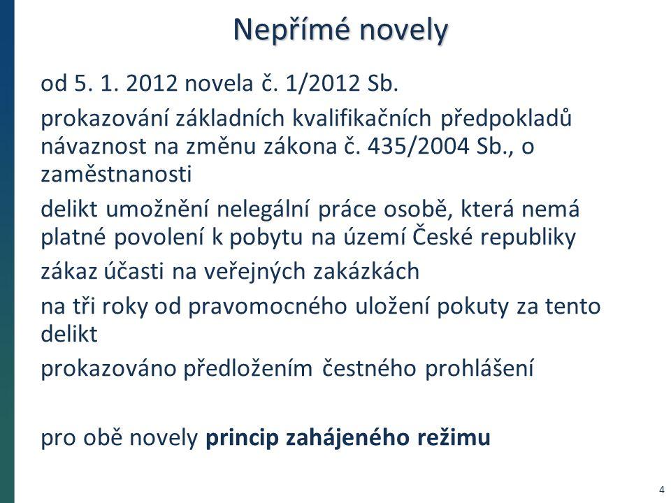 Nepřímé novely od 5. 1. 2012 novela č. 1/2012 Sb.