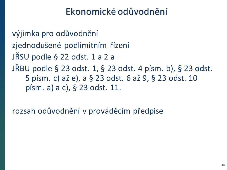 Ekonomické odůvodnění výjimka pro odůvodnění zjednodušené podlimitním řízení JŘSU podle § 22 odst. 1 a 2 a JŘBU podle § 23 odst. 1, § 23 odst. 4 písm.
