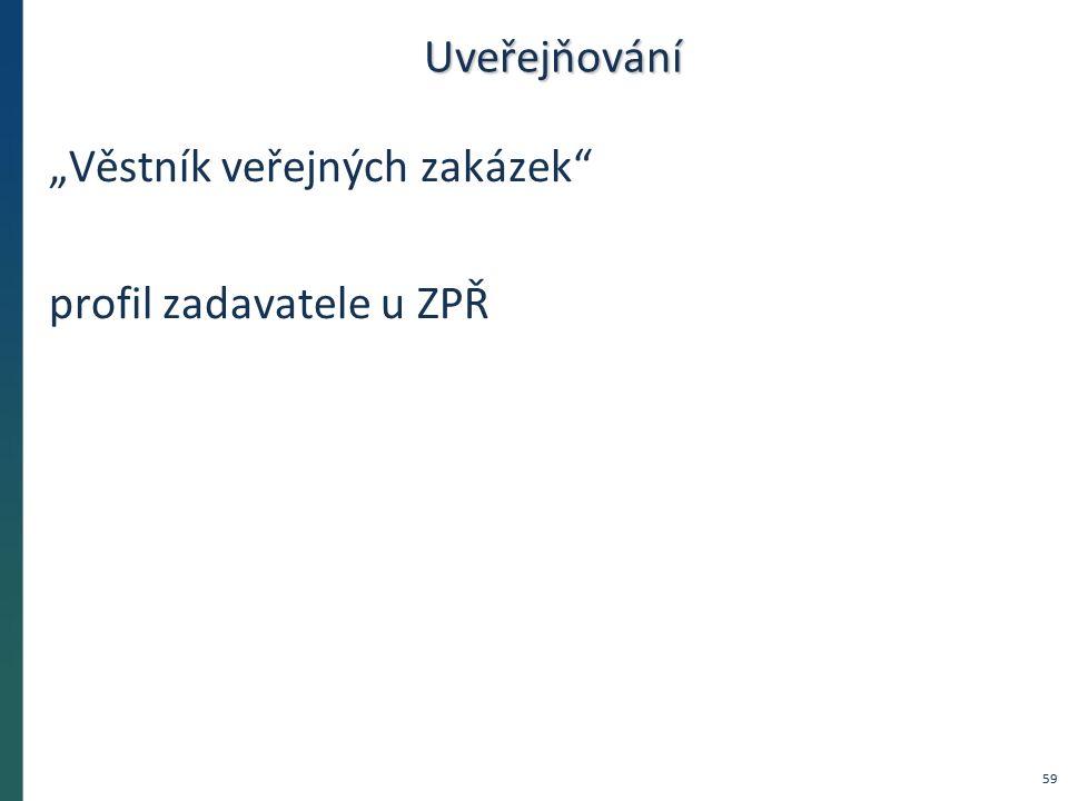 """Uveřejňování """"Věstník veřejných zakázek"""" profil zadavatele u ZPŘ 59"""