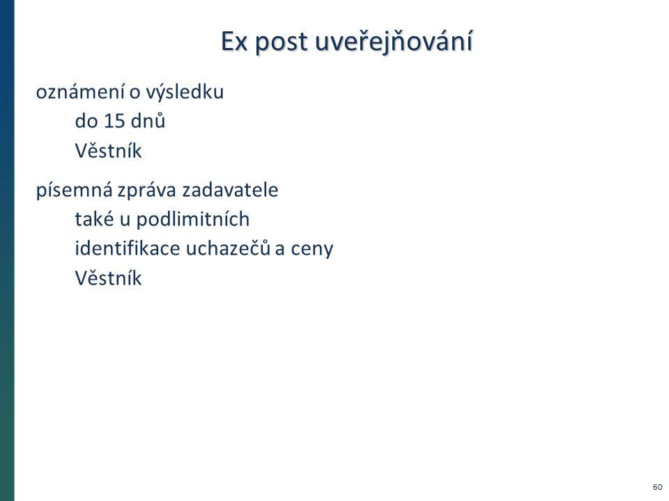 Ex post uveřejňování oznámení o výsledku do 15 dnů Věstník písemná zpráva zadavatele také u podlimitních identifikace uchazečů a ceny Věstník 60