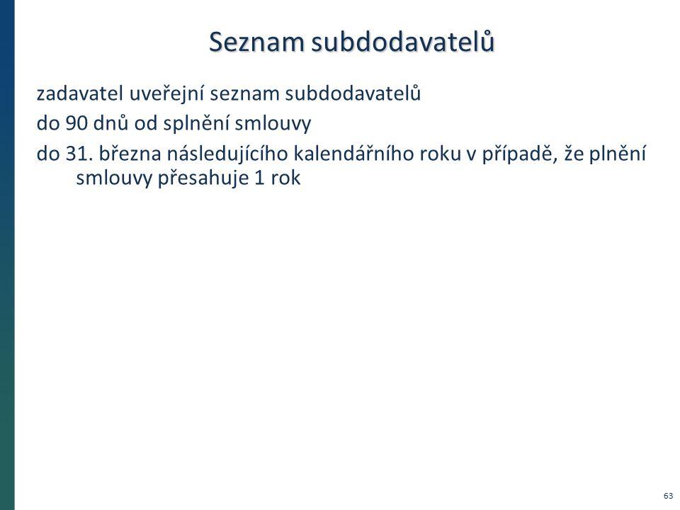 Seznam subdodavatelů zadavatel uveřejní seznam subdodavatelů do 90 dnů od splnění smlouvy do 31. března následujícího kalendářního roku v případě, že