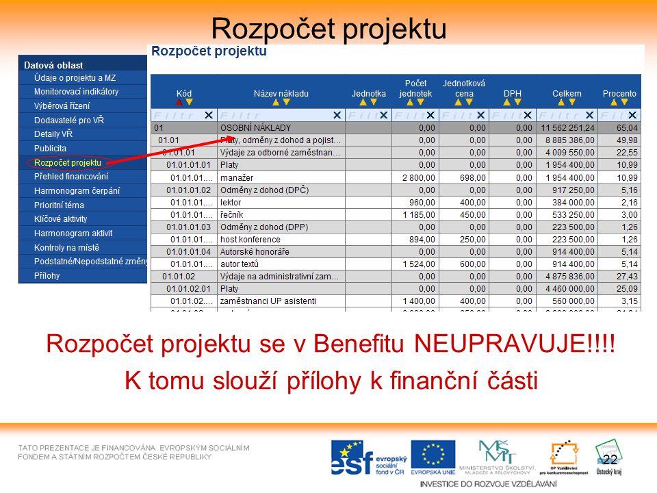 22 Rozpočet projektu Rozpočet projektu se v Benefitu NEUPRAVUJE!!!.