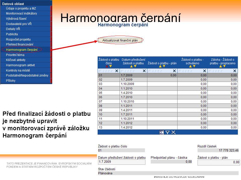 24 Harmonogram čerpání Před finalizací žádosti o platbu je nezbytné upravit v monitorovací zprávě záložku Harmonogram čerpání