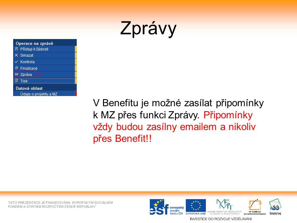33 Zprávy V Benefitu je možné zasílat připomínky k MZ přes funkci Zprávy.