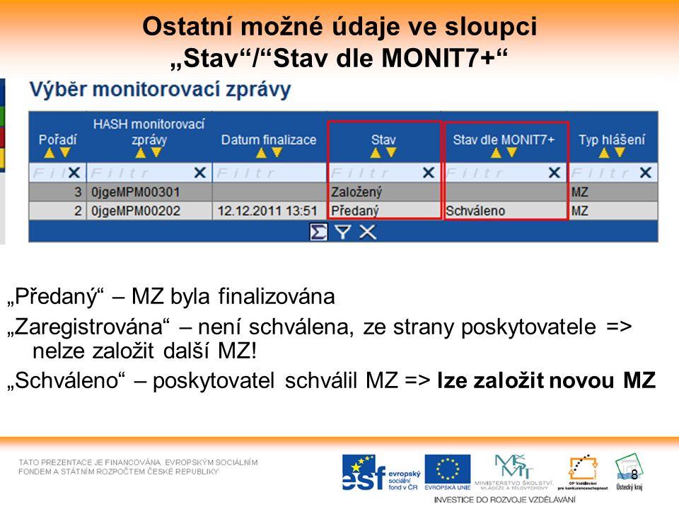 """8 Ostatní možné údaje ve sloupci """"Stav / Stav dle MONIT7+ """"Předaný – MZ byla finalizována """"Zaregistrována – není schválena, ze strany poskytovatele => nelze založit další MZ."""