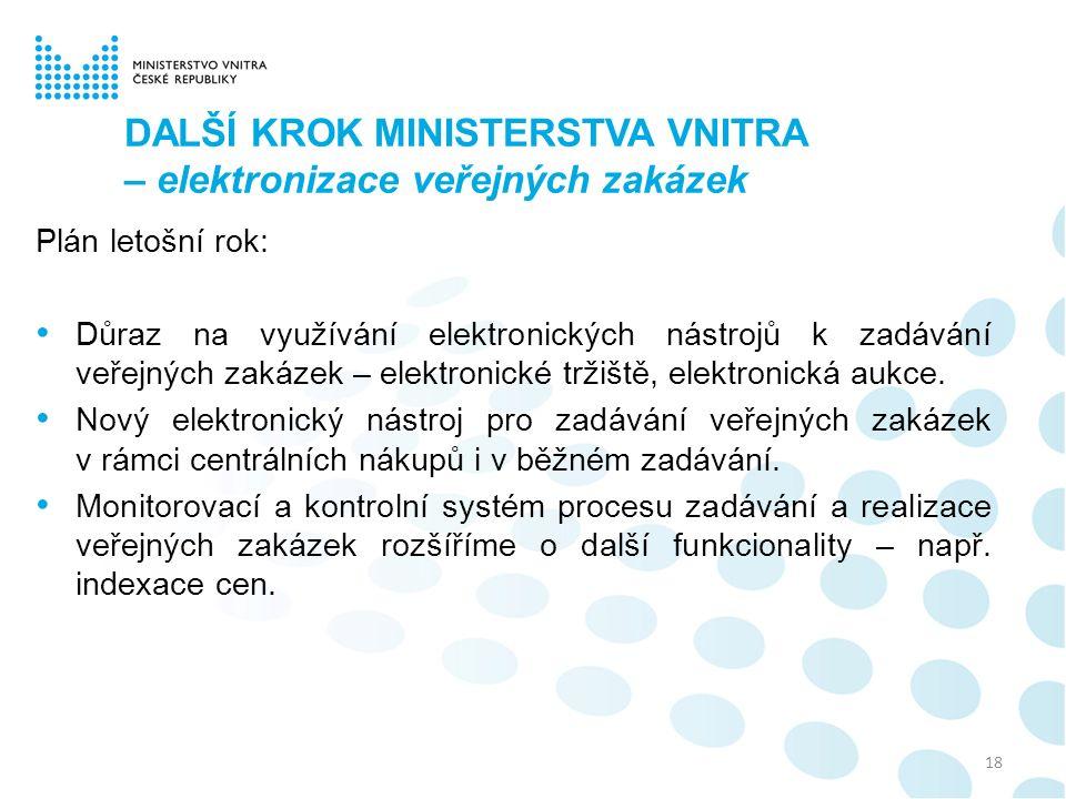 DALŠÍ KROK MINISTERSTVA VNITRA – elektronizace veřejných zakázek Plán letošní rok: Důraz na využívání elektronických nástrojů k zadávání veřejných zak