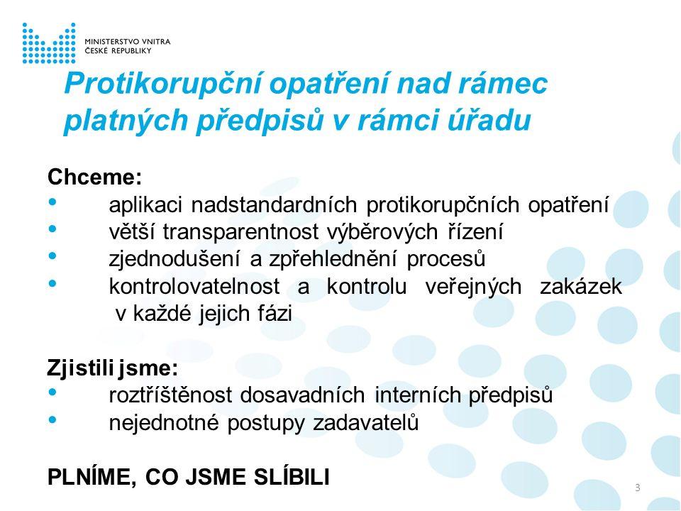 3 Protikorupční opatření nad rámec platných předpisů v rámci úřadu Chceme: aplikaci nadstandardních protikorupčních opatření větší transparentnost výb
