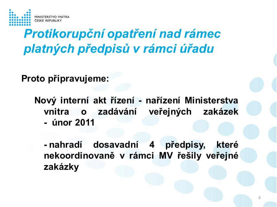 4 Protikorupční opatření nad rámec platných předpisů v rámci úřadu Proto připravujeme: Nový interní akt řízení - nařízení Ministerstva vnitra o zadává