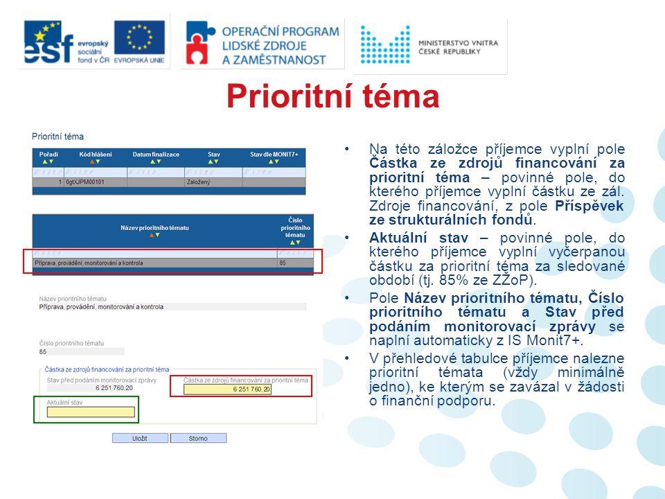 Prioritní téma Na této záložce příjemce vyplní pole Částka ze zdrojů financování za prioritní téma – povinné pole, do kterého příjemce vyplní částku ze zál.