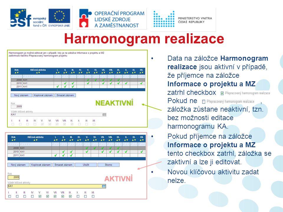 Data na záložce Harmonogram realizace jsou aktivní v případě, že příjemce na záložce Informace o projektu a MZ zatrhl checkbox.