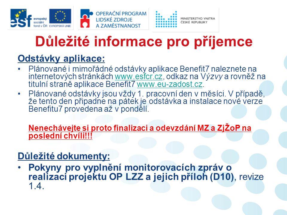 Žádost o platbu (I.) Na této záložce příjemce nalezne všeobecné informace o projektu, příjemci a žádosti o platbu.