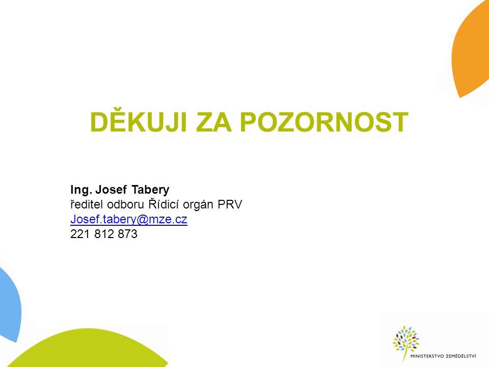 DĚKUJI ZA POZORNOST Ing. Josef Tabery ředitel odboru Řídicí orgán PRV Josef.tabery@mze.cz 221 812 873
