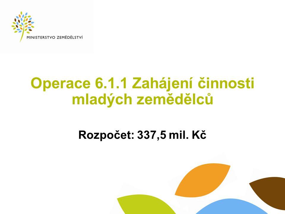 Operace 6.1.1 Zahájení činnosti mladých zemědělců Rozpočet: 337,5 mil. Kč