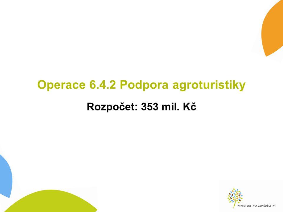 Operace 6.4.2 Podpora agroturistiky Rozpočet: 353 mil. Kč