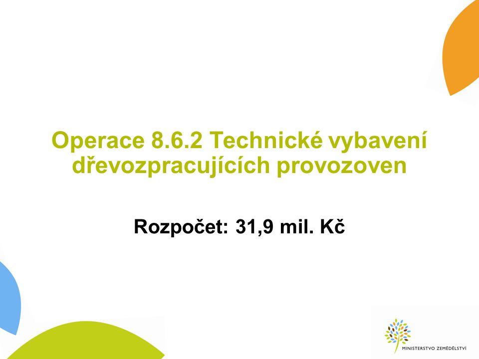 Operace 8.6.2 Technické vybavení dřevozpracujících provozoven Rozpočet: 31,9 mil. Kč