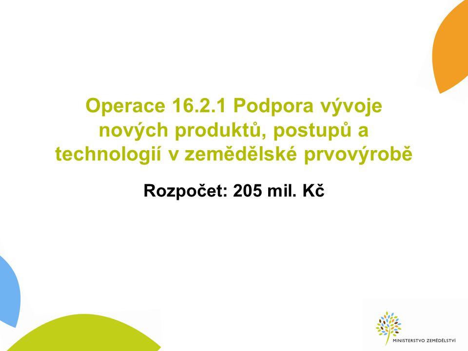 Operace 16.2.1 Podpora vývoje nových produktů, postupů a technologií v zemědělské prvovýrobě Rozpočet: 205 mil.