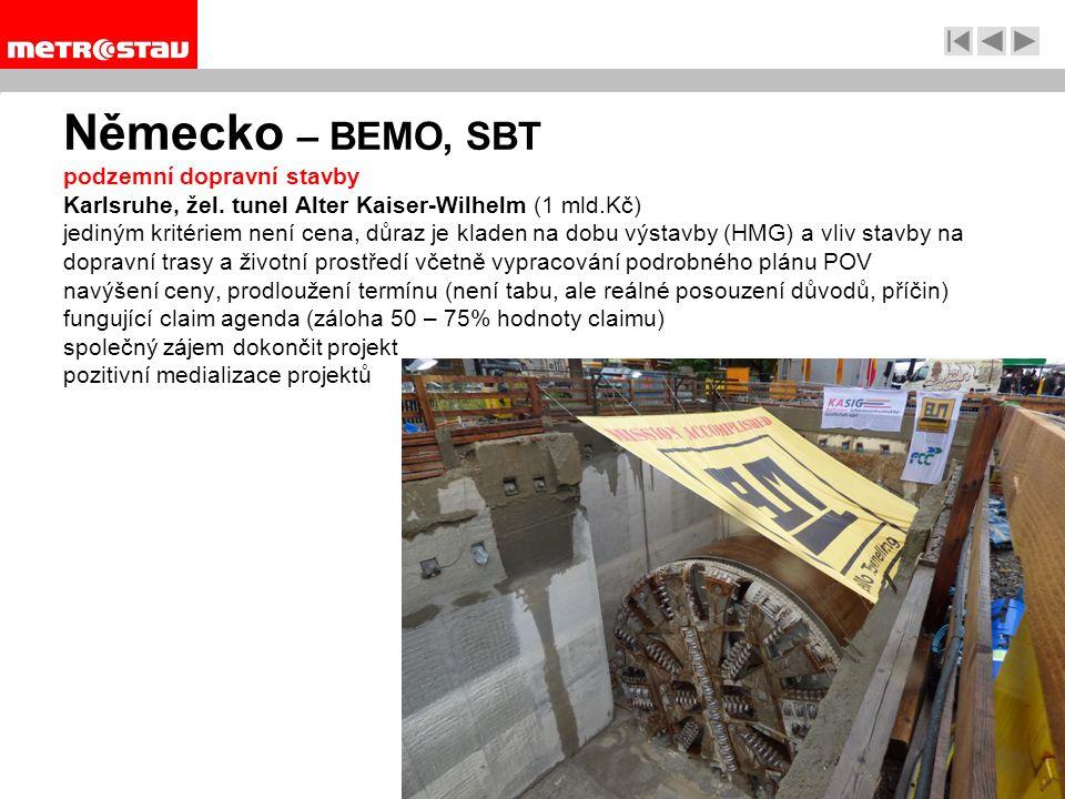 Německo – BEMO, SBT podzemní dopravní stavby Karlsruhe, žel.