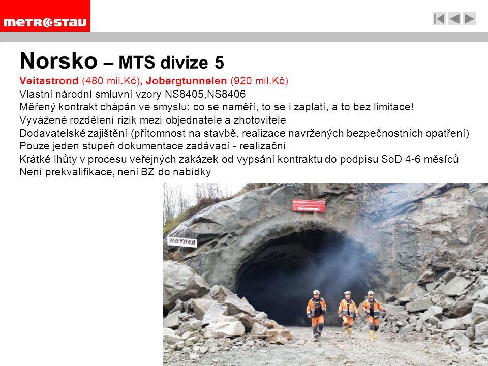 Norsko – MTS divize 5 Veitastrond (480 mil.Kč), Jobergtunnelen (920 mil.Kč) Vlastní národní smluvní vzory NS8405,NS8406 Měřený kontrakt chápán ve smyslu: co se naměří, to se i zaplatí, a to bez limitace.