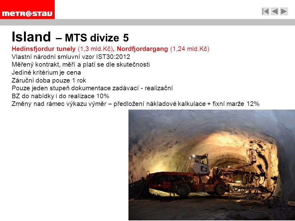 Island – MTS divize 5 Hedinsfjordur tunely (1,3 mld.Kč), Nordfjordargang (1,24 mld.Kč) Vlastní národní smluvní vzor IST30:2012 Měřený kontrakt, měří a platí se dle skutečnosti Jediné kritérium je cena Záruční doba pouze 1 rok Pouze jeden stupeň dokumentace zadávací - realizační BZ do nabídky i do realizace 10% Změny nad rámec výkazu výměr – předložení nákladové kalkulace + fixní marže 12%