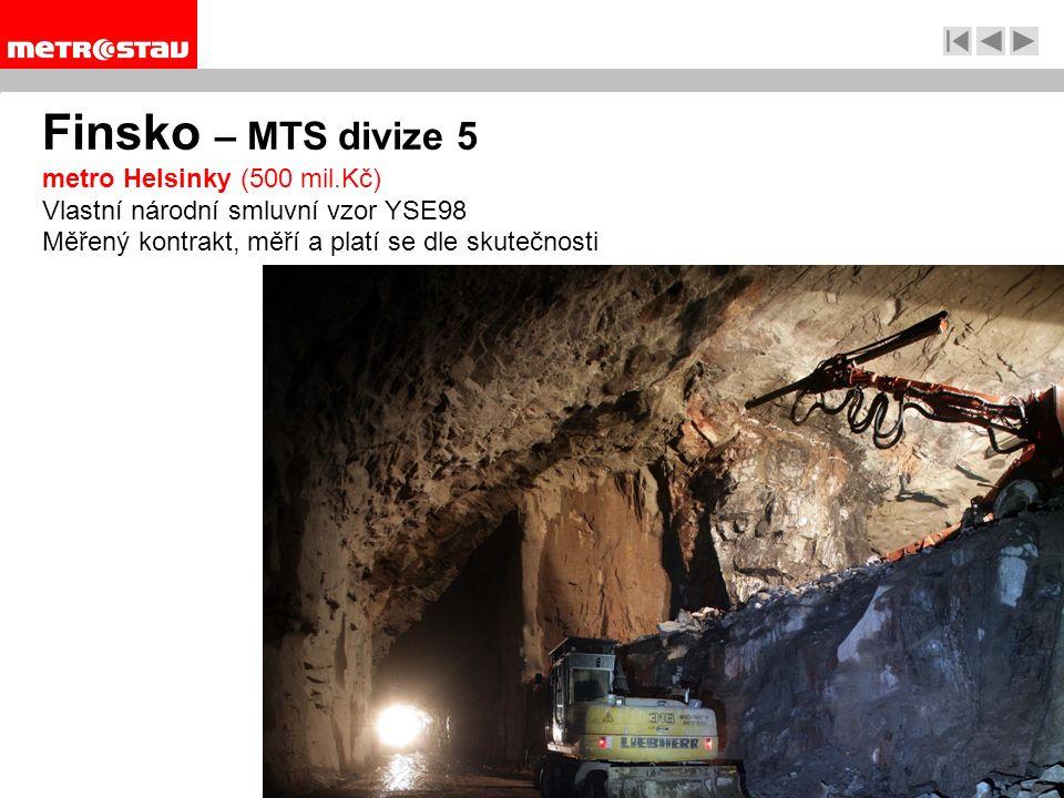 Finsko – MTS divize 5 metro Helsinky (500 mil.Kč) Vlastní národní smluvní vzor YSE98 Měřený kontrakt, měří a platí se dle skutečnosti