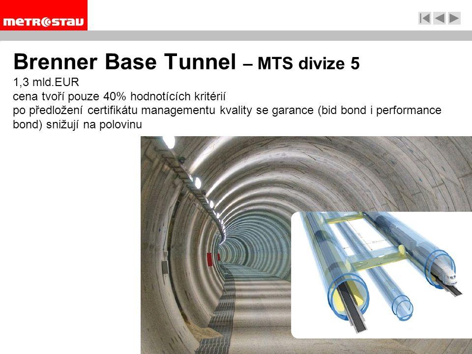 Brenner Base Tunnel – MTS divize 5 1,3 mld.EUR cena tvoří pouze 40% hodnotících kritérií po předložení certifikátu managementu kvality se garance (bid bond i performance bond) snižují na polovinu