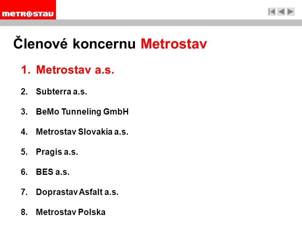 Členové koncernu Metrostav 1.Metrostav a.s. 2.Subterra a.s.