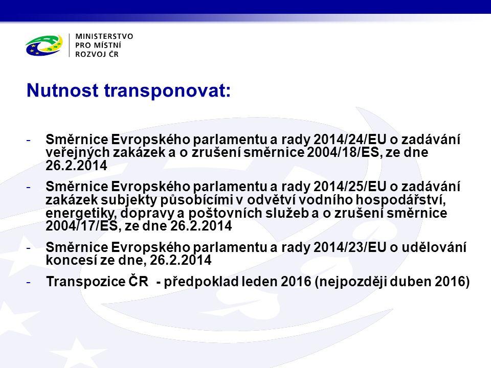 Nutnost transponovat: -Směrnice Evropského parlamentu a rady 2014/24/EU o zadávání veřejných zakázek a o zrušení směrnice 2004/18/ES, ze dne 26.2.2014 -Směrnice Evropského parlamentu a rady 2014/25/EU o zadávání zakázek subjekty působícími v odvětví vodního hospodářství, energetiky, dopravy a poštovních služeb a o zrušení směrnice 2004/17/ES, ze dne 26.2.2014 -Směrnice Evropského parlamentu a rady 2014/23/EU o udělování koncesí ze dne, 26.2.2014 -Transpozice ČR - předpoklad leden 2016 (nejpozději duben 2016)