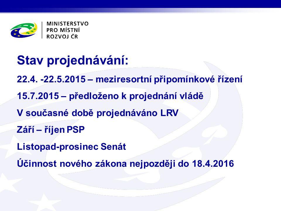Stav projednávání: 22.4. -22.5.2015 – meziresortní připomínkové řízení 15.7.2015 – předloženo k projednání vládě V současné době projednáváno LRV Září