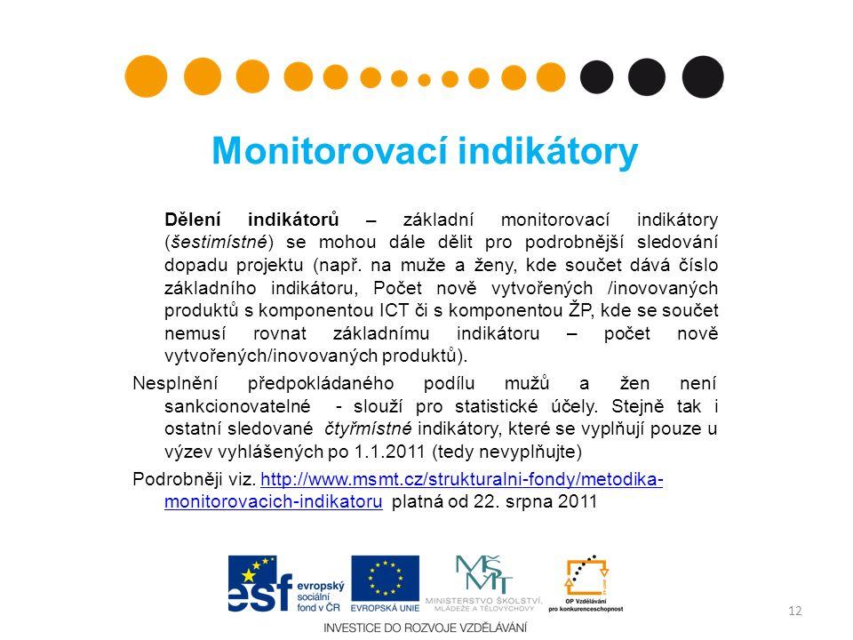 Monitorovací indikátory Dělení indikátorů – základní monitorovací indikátory (šestimístné) se mohou dále dělit pro podrobnější sledování dopadu projektu (např.