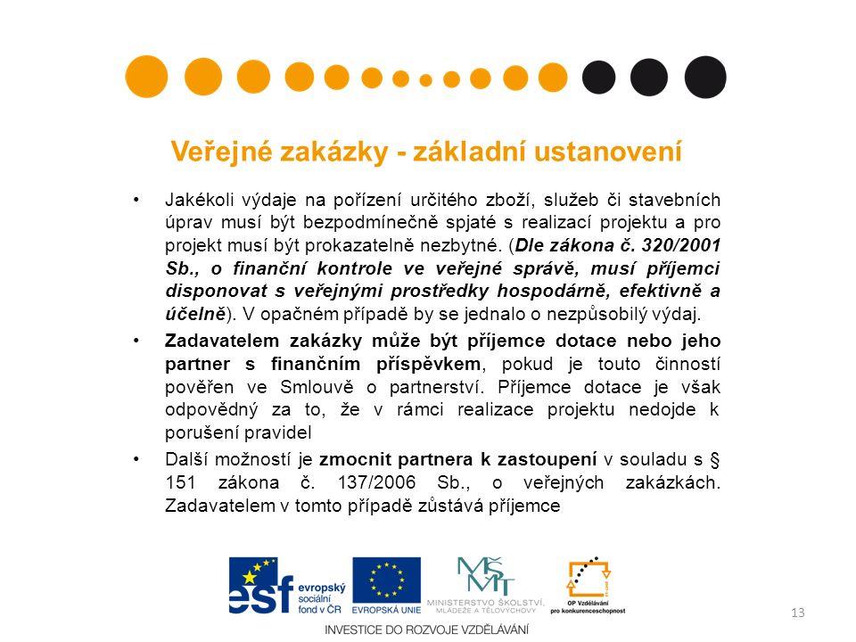 Veřejné zakázky - základní ustanovení Jakékoli výdaje na pořízení určitého zboží, služeb či stavebních úprav musí být bezpodmínečně spjaté s realizací projektu a pro projekt musí být prokazatelně nezbytné.