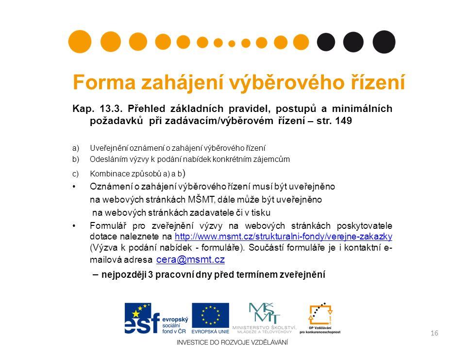 Forma zahájení výběrového řízení Kap. 13.3. Přehled základních pravidel, postupů a minimálních požadavků při zadávacím/výběrovém řízení – str. 149 a)U
