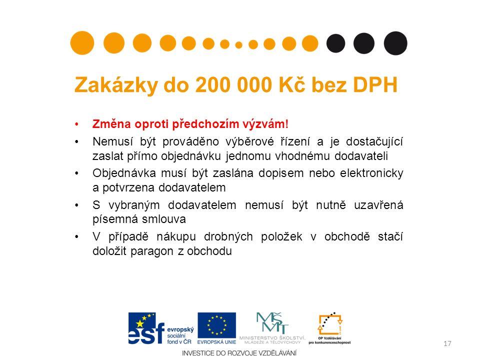 Zakázky do 200 000 Kč bez DPH Změna oproti předchozím výzvám.