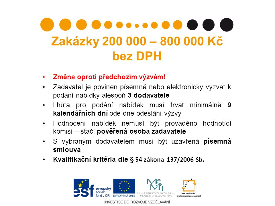 Zakázky 200 000 – 800 000 Kč bez DPH Změna oproti předchozím výzvám! Zadavatel je povinen písemně nebo elektronicky vyzvat k podání nabídky alespoň 3