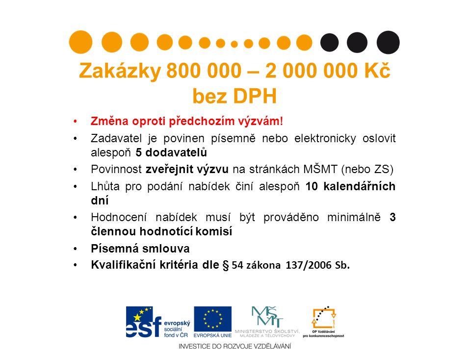 Zakázky 800 000 – 2 000 000 Kč bez DPH Změna oproti předchozím výzvám.
