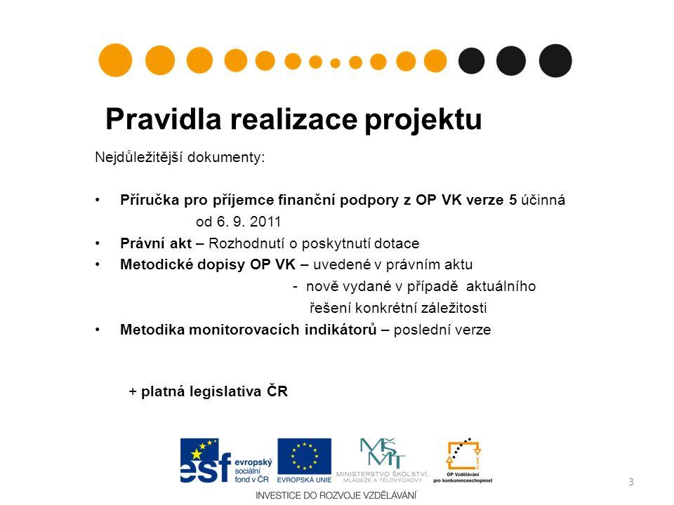 Pravidla realizace projektu Nejdůležitější dokumenty: Příručka pro příjemce finanční podpory z OP VK verze 5 účinná od 6. 9. 2011 Právní akt – Rozhodn
