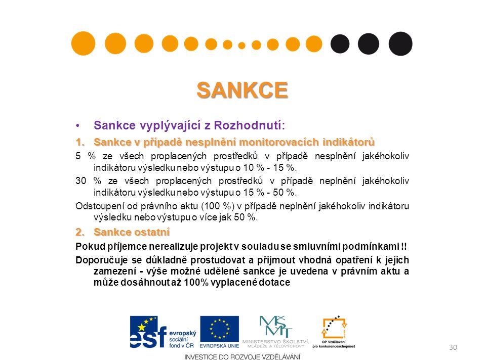 SANKCE Sankce vyplývající z Rozhodnutí: 1. Sankce v případě nesplnění monitorovacích indikátorů 5 % ze všech proplacených prostředků v případě nesplně