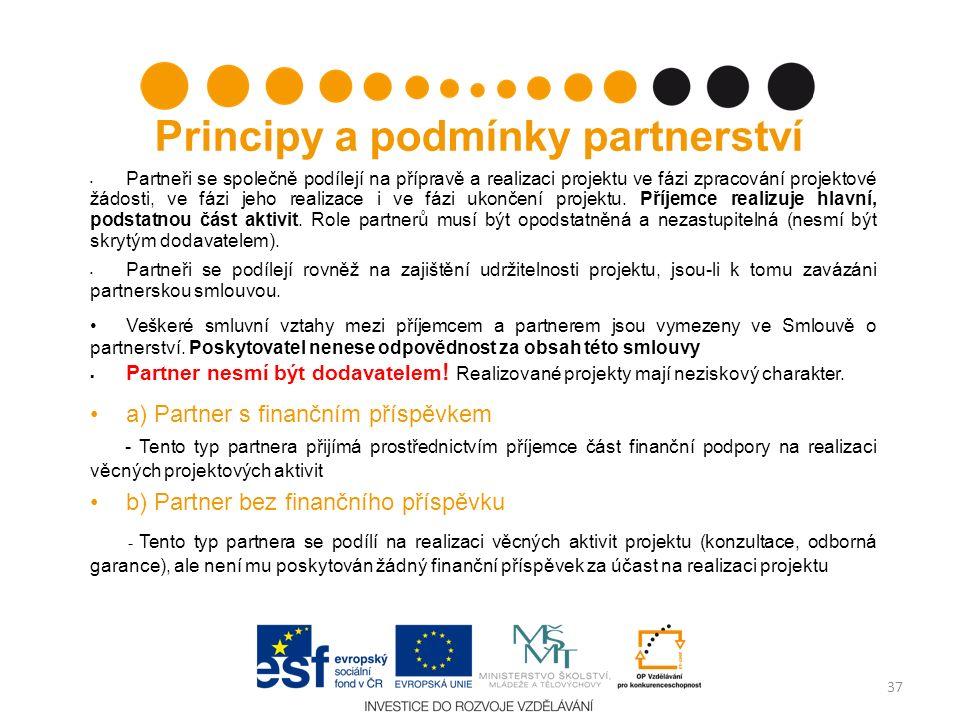Principy a podmínky partnerství Partneři se společně podílejí na přípravě a realizaci projektu ve fázi zpracování projektové žádosti, ve fázi jeho realizace i ve fázi ukončení projektu.