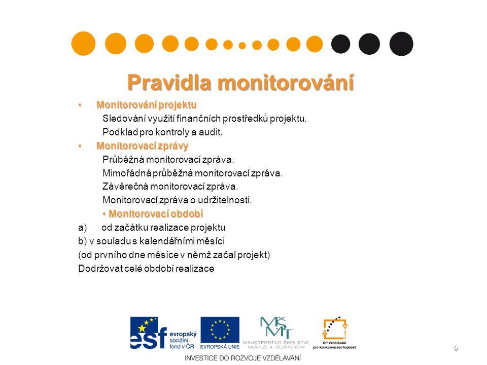 Pravidla monitorování Monitorování projektuMonitorování projektu Sledování využití finančních prostředků projektu. Podklad pro kontroly a audit. Monit